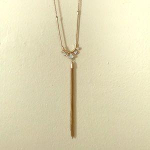 LOFT Gold Tassel Crystal Opal Necklace NWT